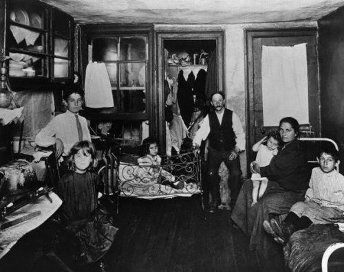 Poor Family in Room of Tenement Apartment